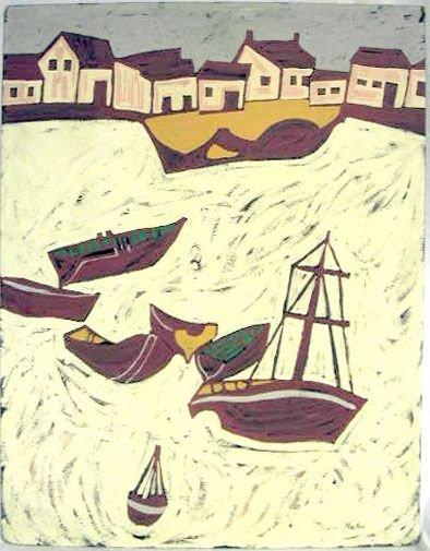 "2001: Martin acrylic ""Red Boats, White Beach"""