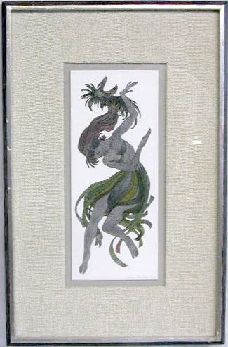 "2010: Oliver Grimley watercolor ""The Dancer"""