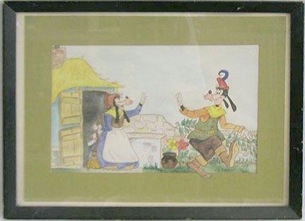 "2017: 40's Walt Disney Productions, watercolor ""Goofy"""