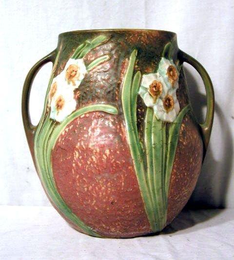 """2056A: Roseville Jonquil 10 1/2"""" vase"""
