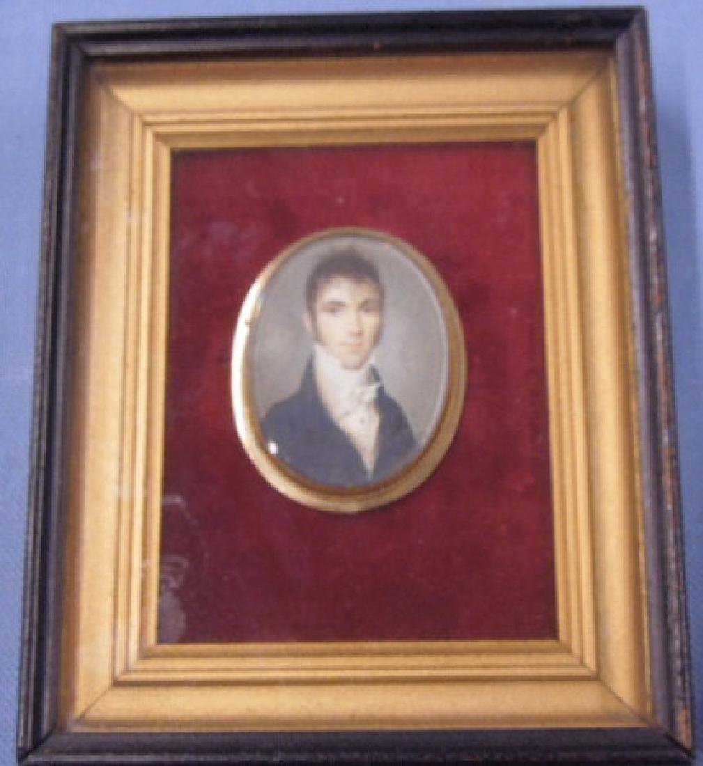 19th c. Painted Portrait Miniature Pin