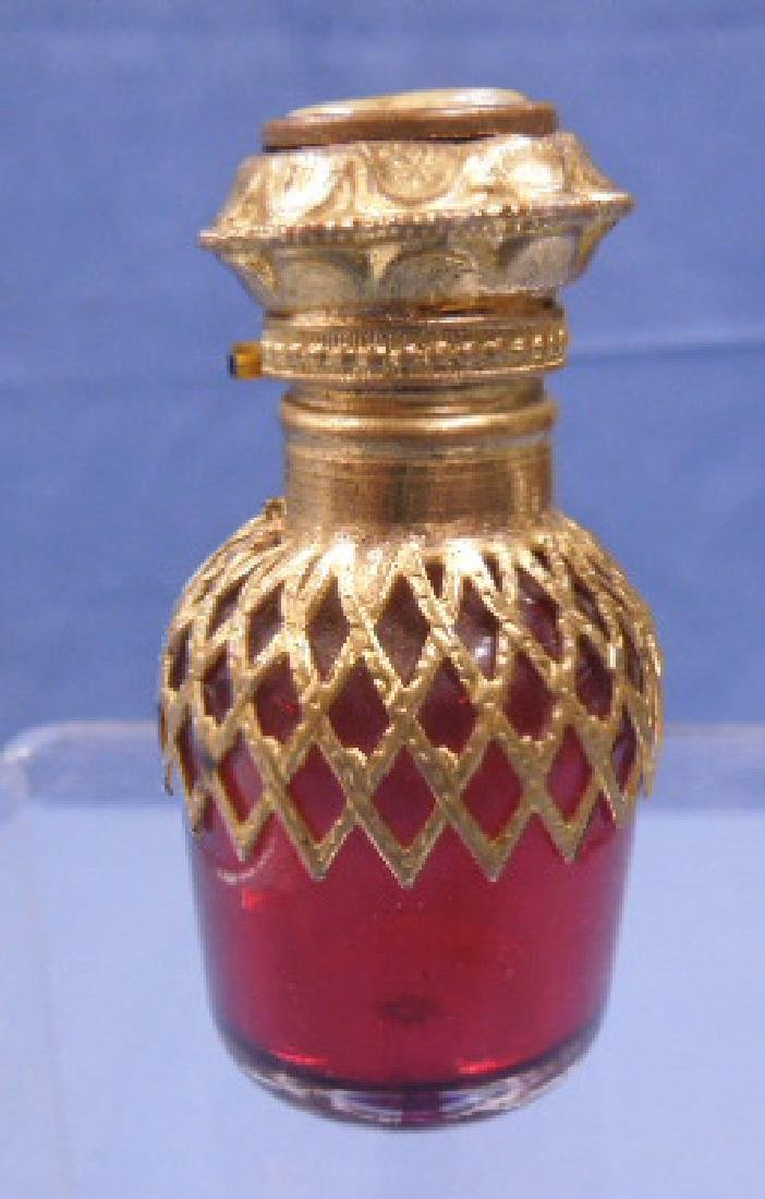 French Cranberry Glass Scent Bottle