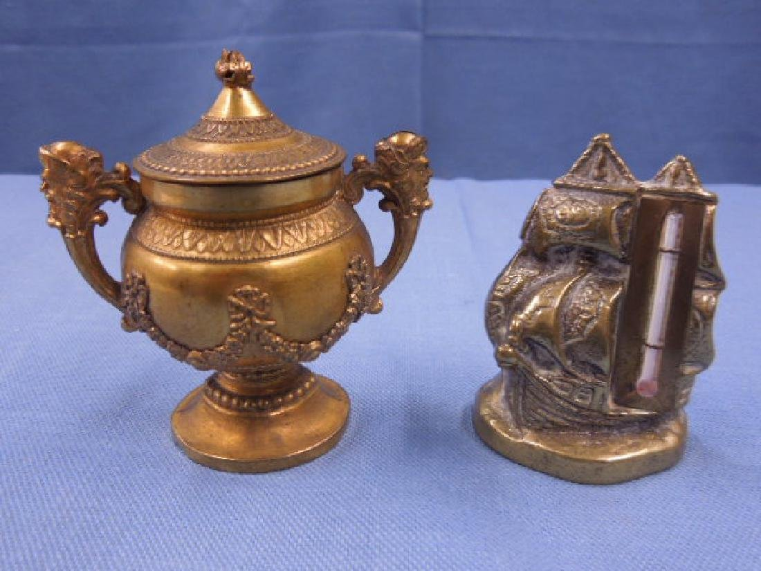 Brass Ship Thermometer & Covered Urn