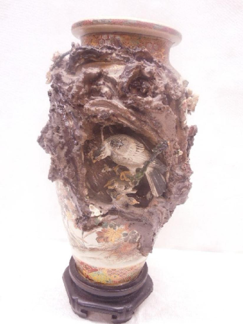 19th c. Satsuma Pottery Bird Vase