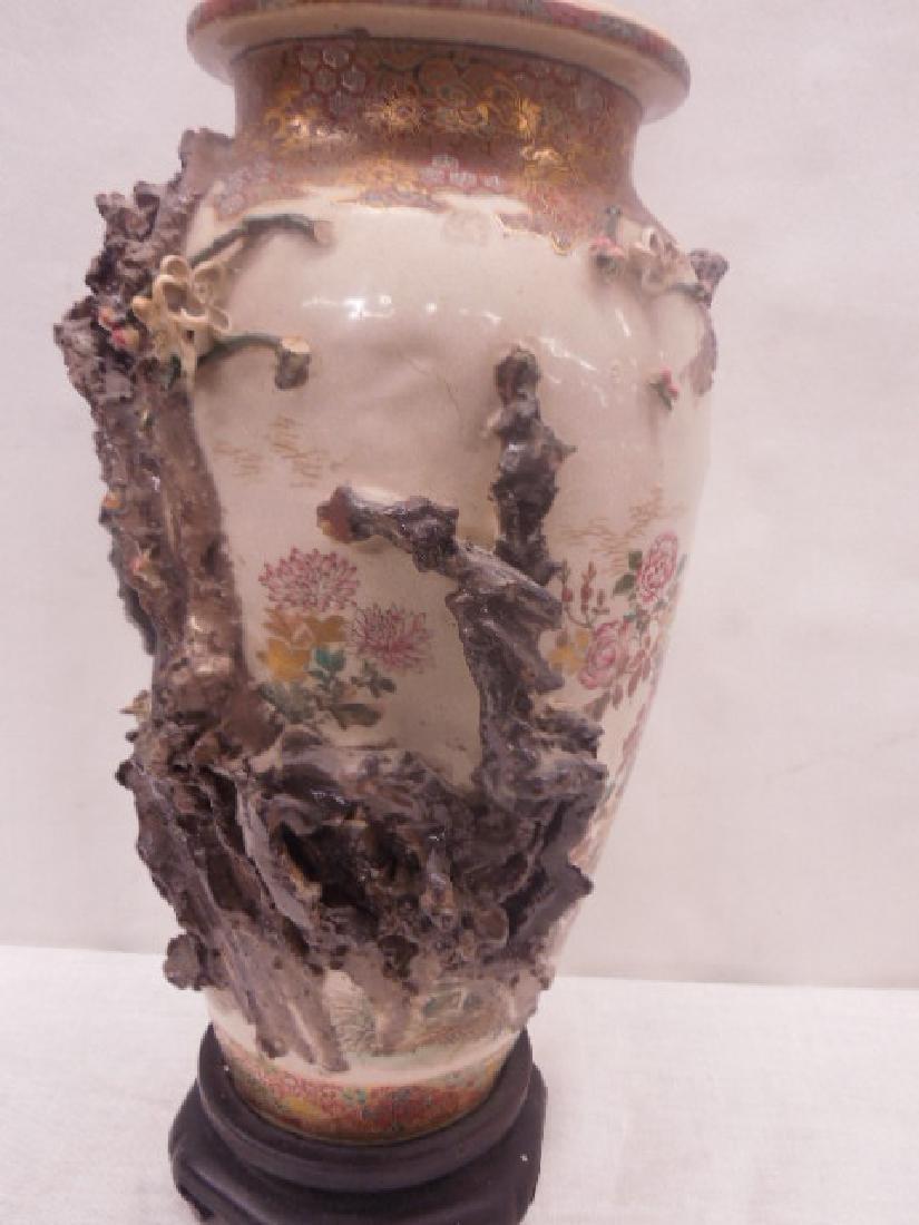 19th c. Satsuma Pottery Bird Vase - 4