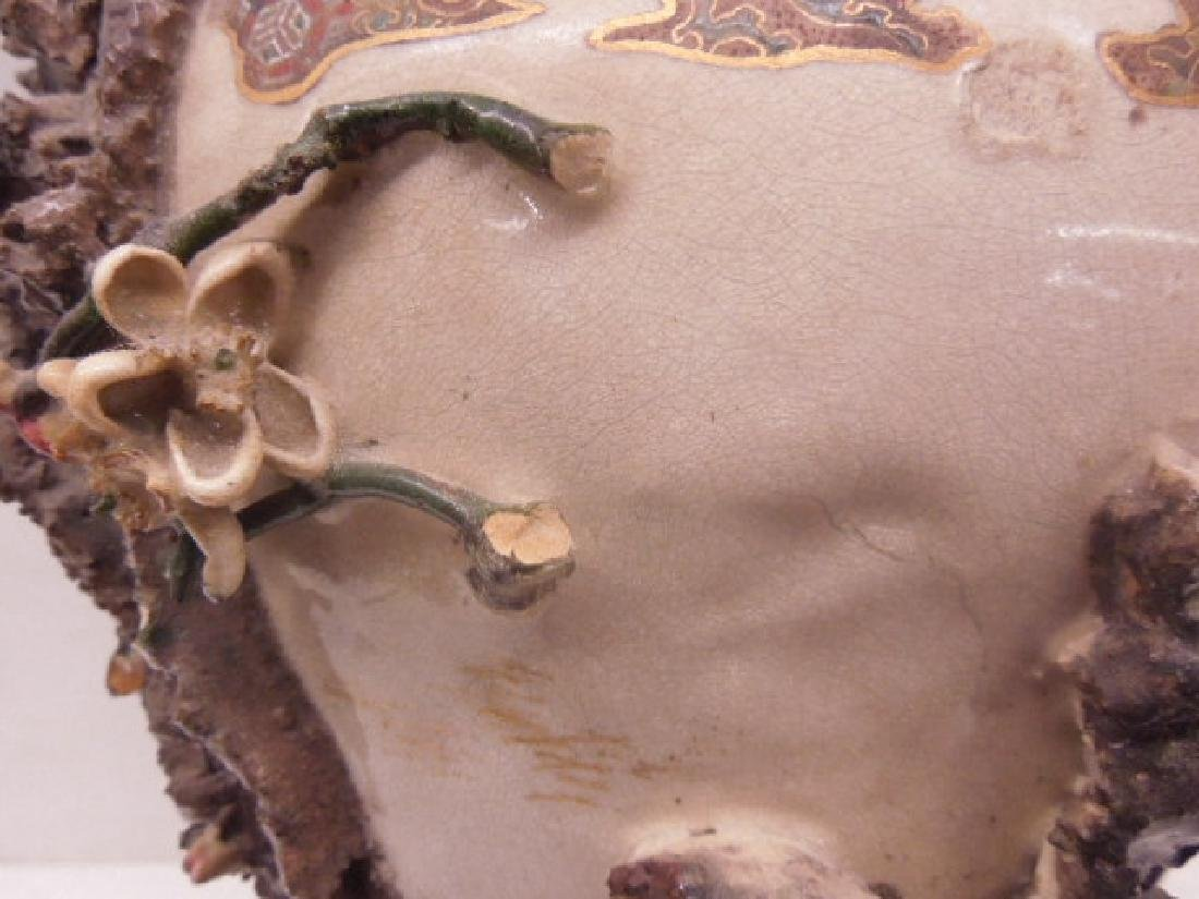 19th c. Satsuma Pottery Bird Vase - 5