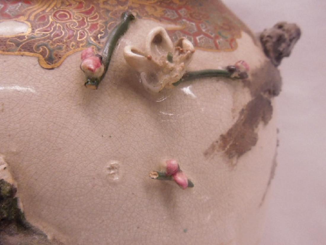 19th c. Satsuma Pottery Bird Vase - 6