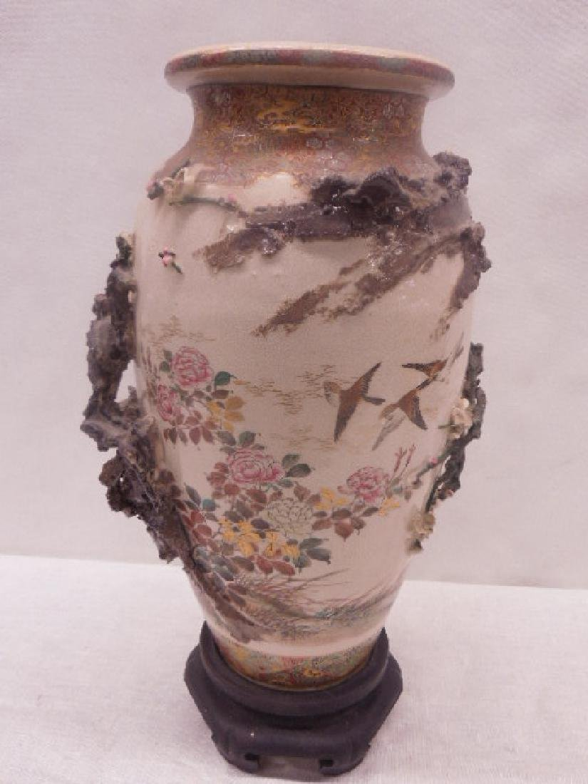19th c. Satsuma Pottery Bird Vase - 7