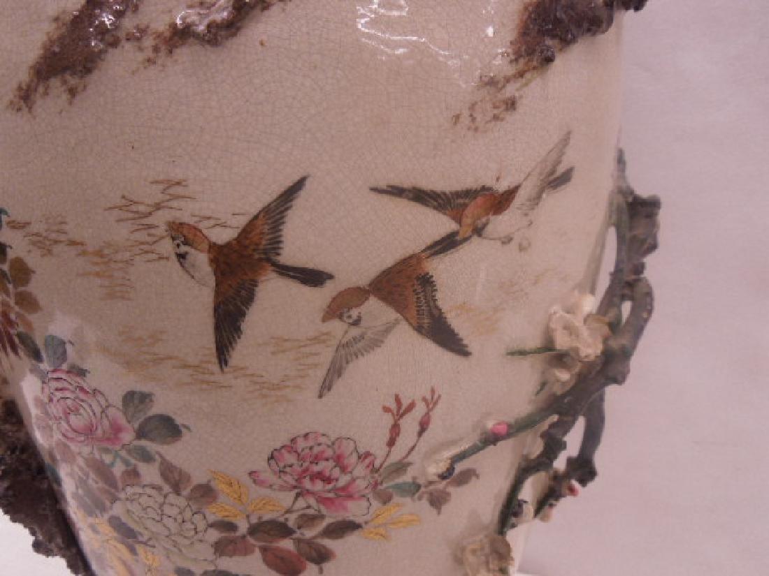 19th c. Satsuma Pottery Bird Vase - 8