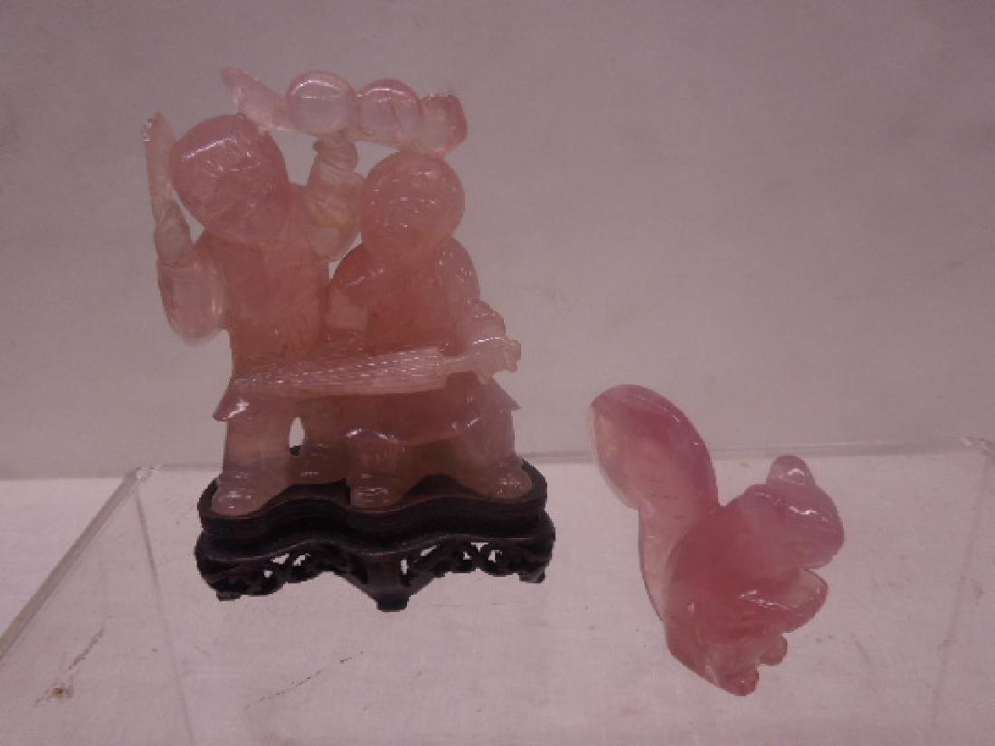 Chinese Rose Quartz Figures