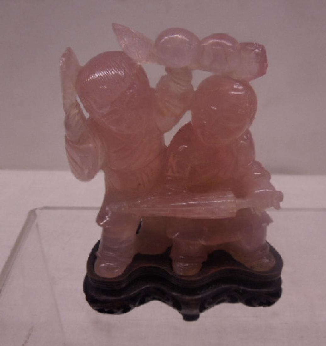 Chinese Rose Quartz Figures - 2