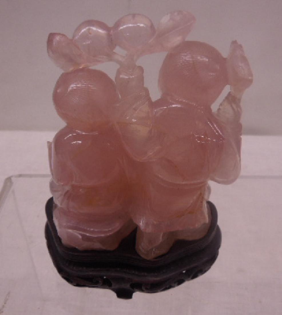 Chinese Rose Quartz Figures - 3