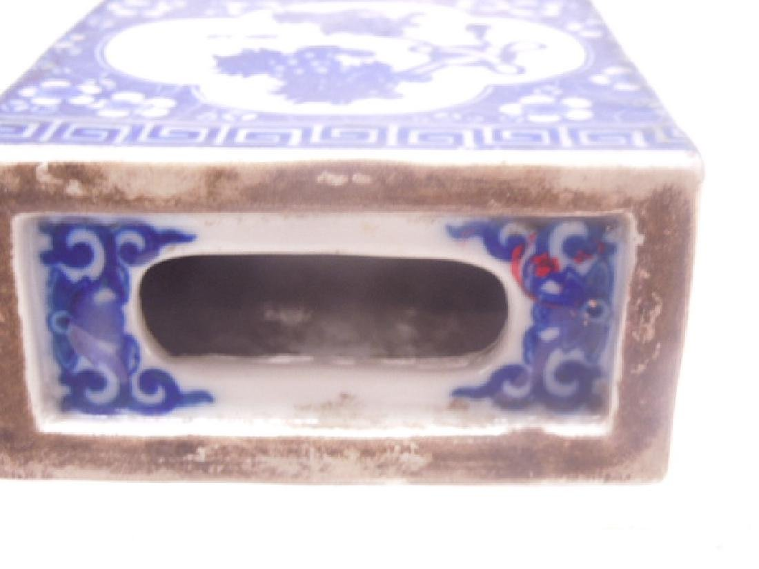 Chinese Blue & White Porcelain Opium Pillow - 5