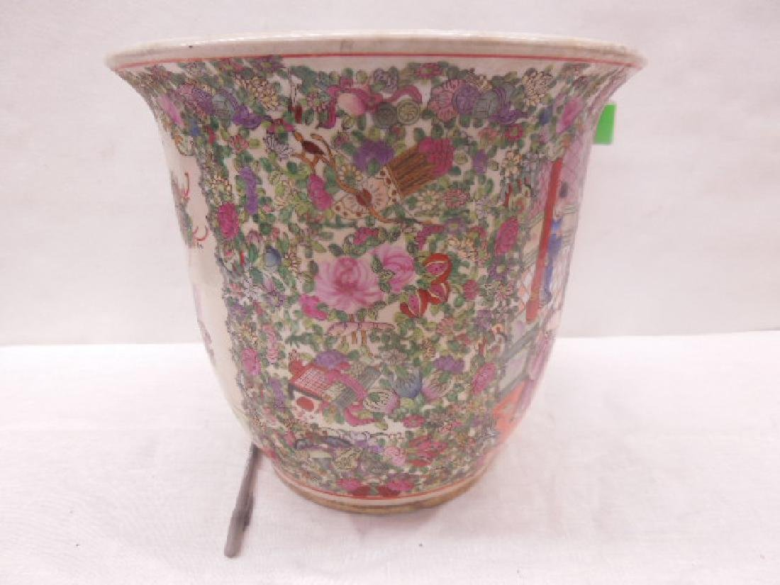 Contemporary Rose Medallion Porcelain Planter - 6