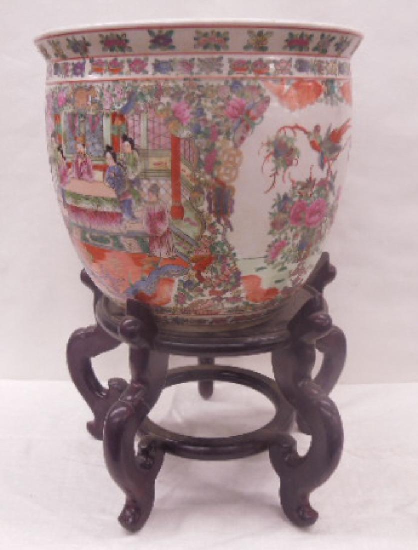 Contemporary Rose Medallion Porcelain Fish Bowl