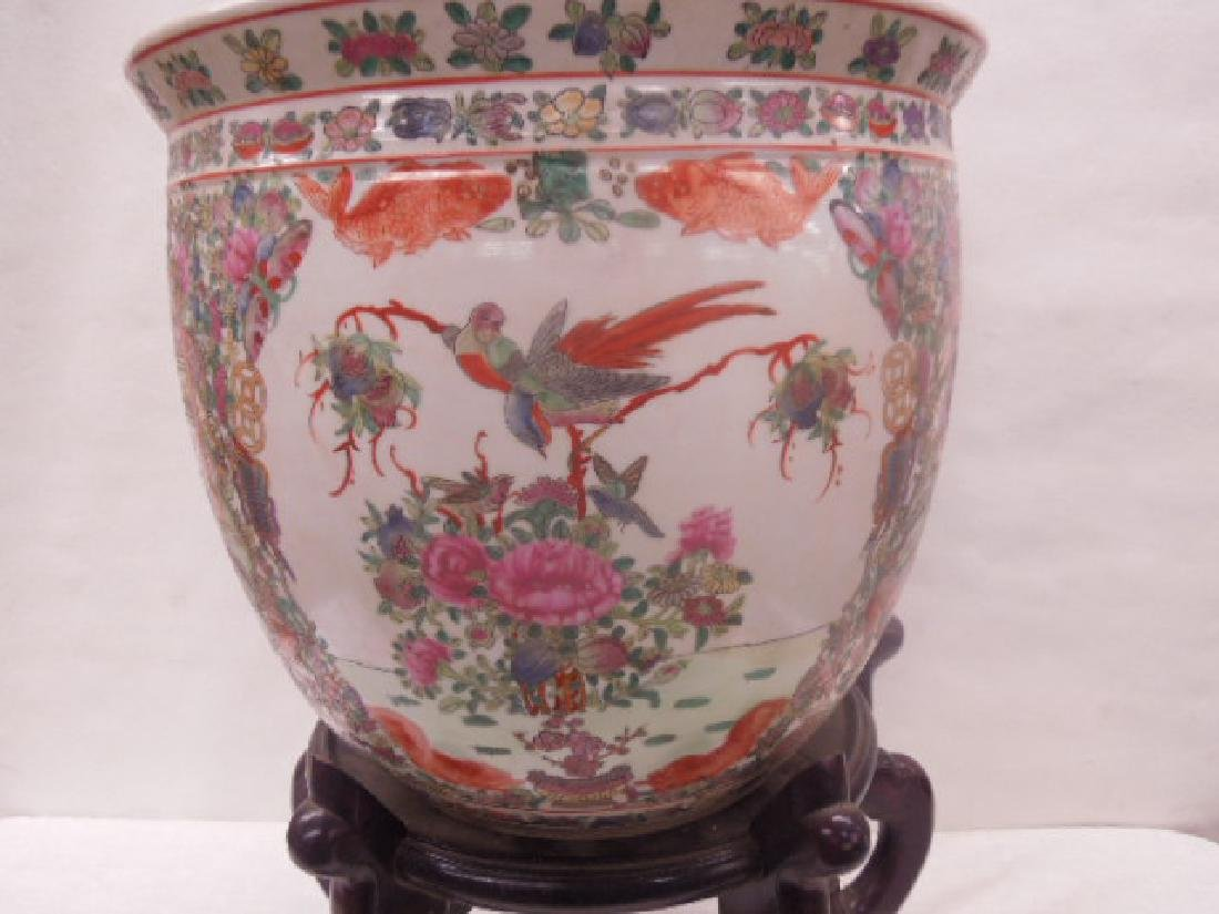 Contemporary Rose Medallion Porcelain Fish Bowl - 2
