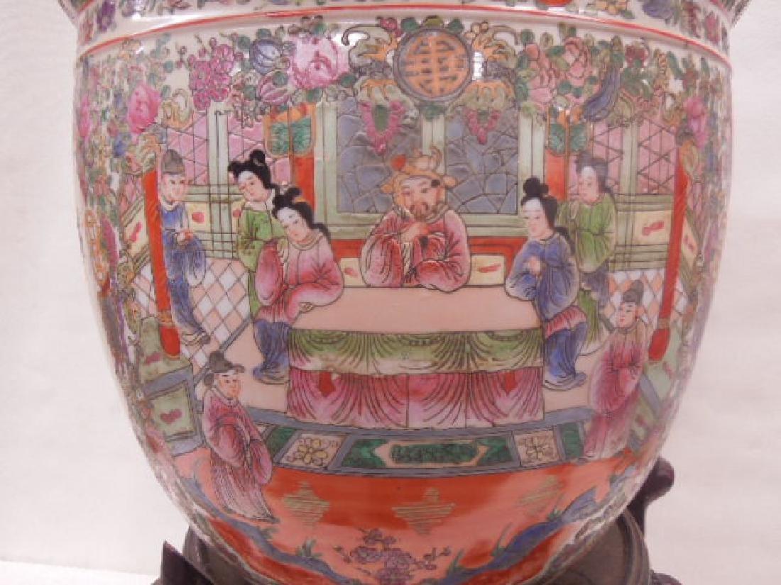 Contemporary Rose Medallion Porcelain Fish Bowl - 3