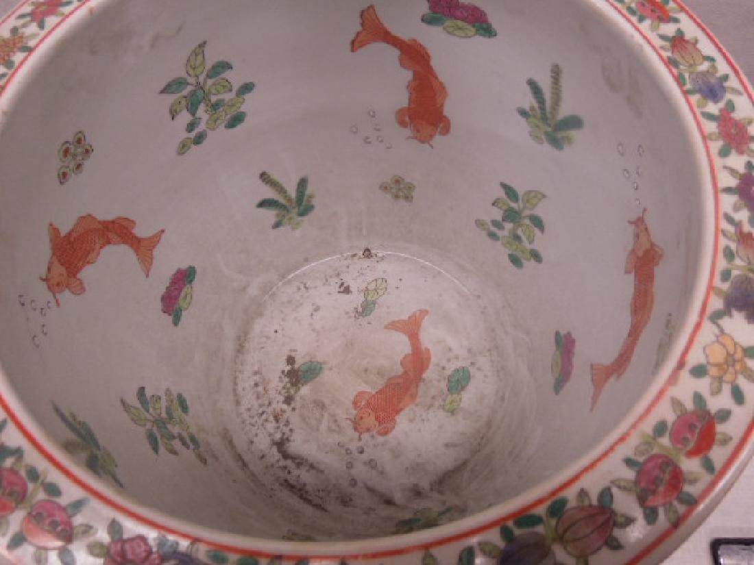 Contemporary Rose Medallion Porcelain Fish Bowl - 4
