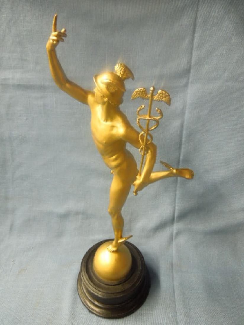 Contemporary Gilt Metal Mercury Statue - 3