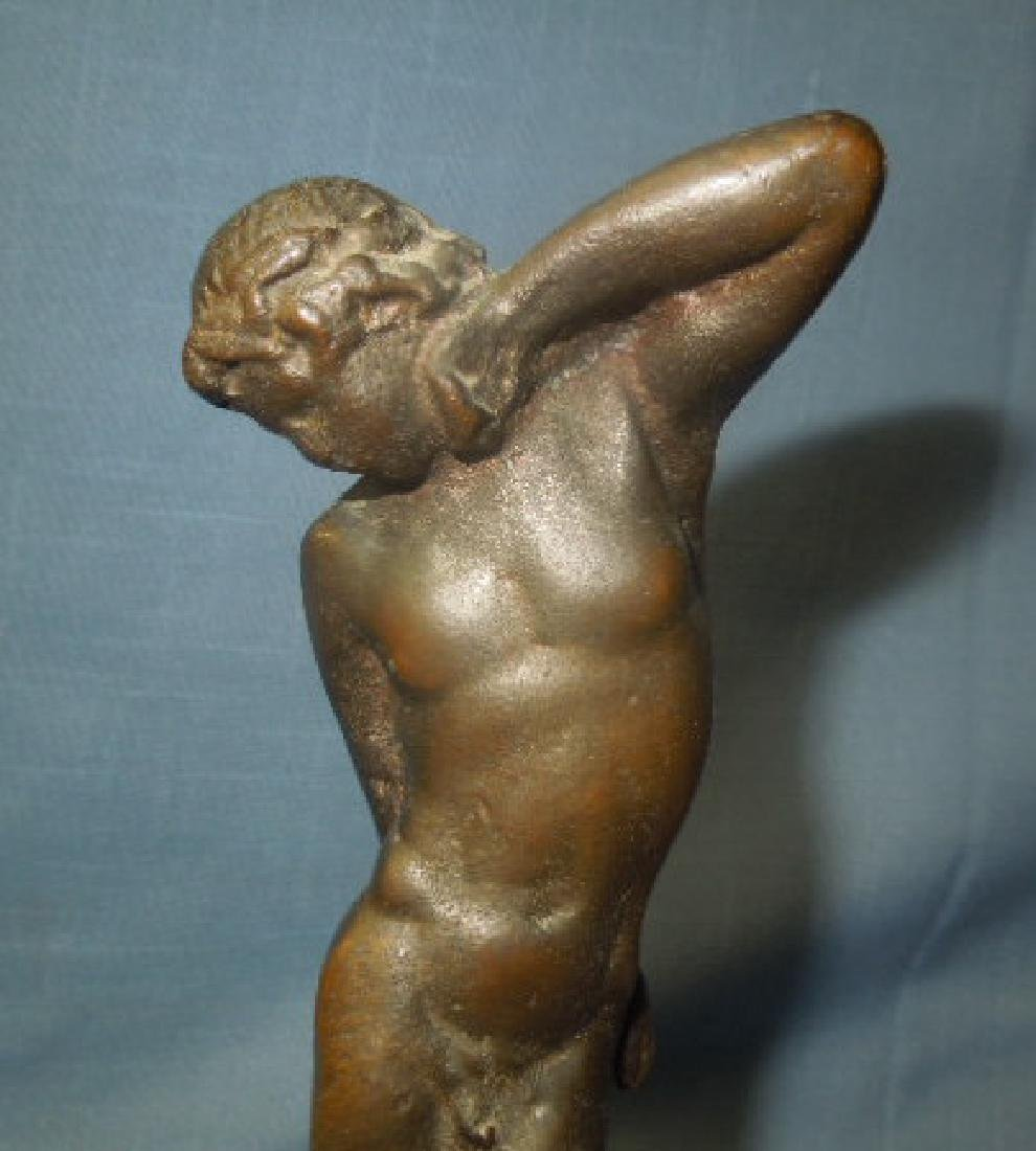 Bronze Art Deco Male Flower Frog - 4