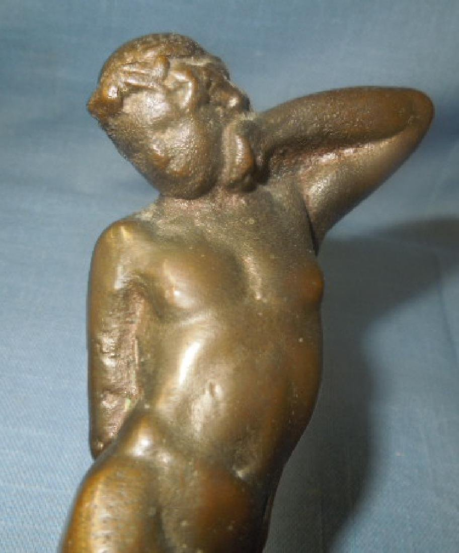 Bronze Art Deco Male Flower Frog - 7