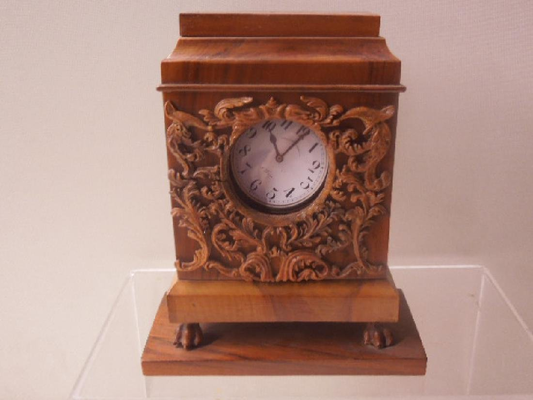 Continental Olive Wood Shelf Clock