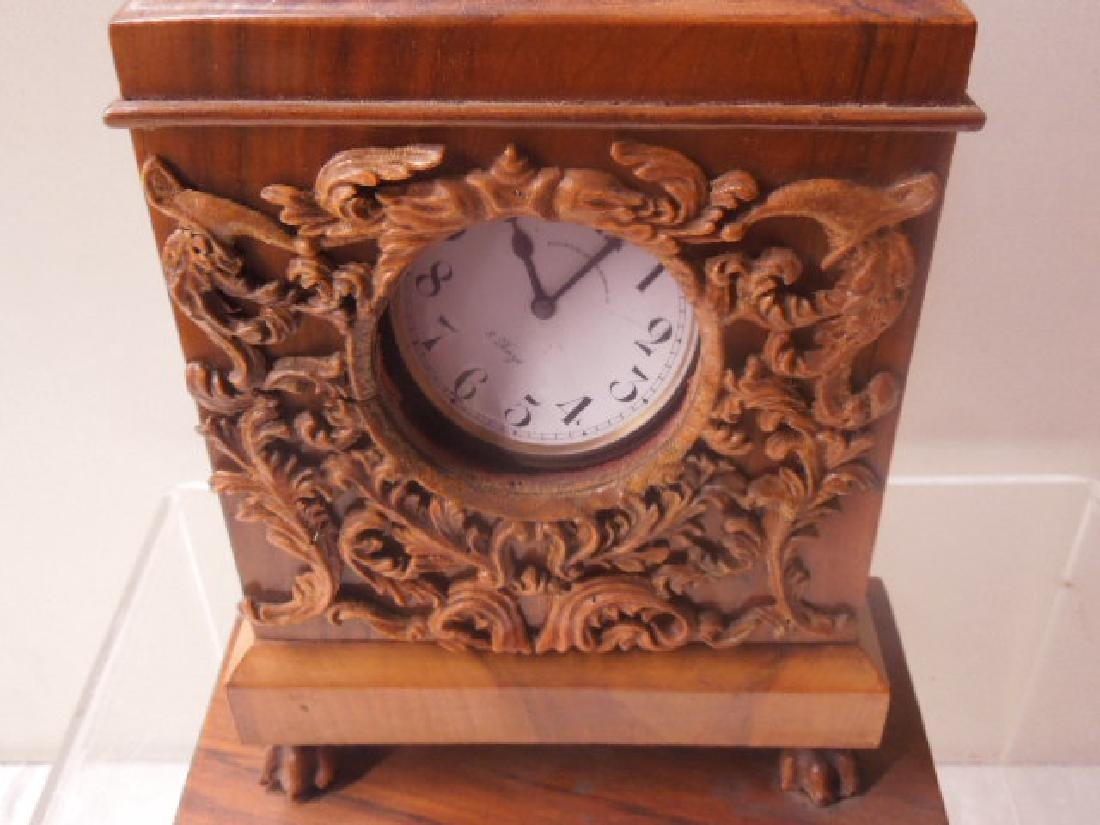 Continental Olive Wood Shelf Clock - 2
