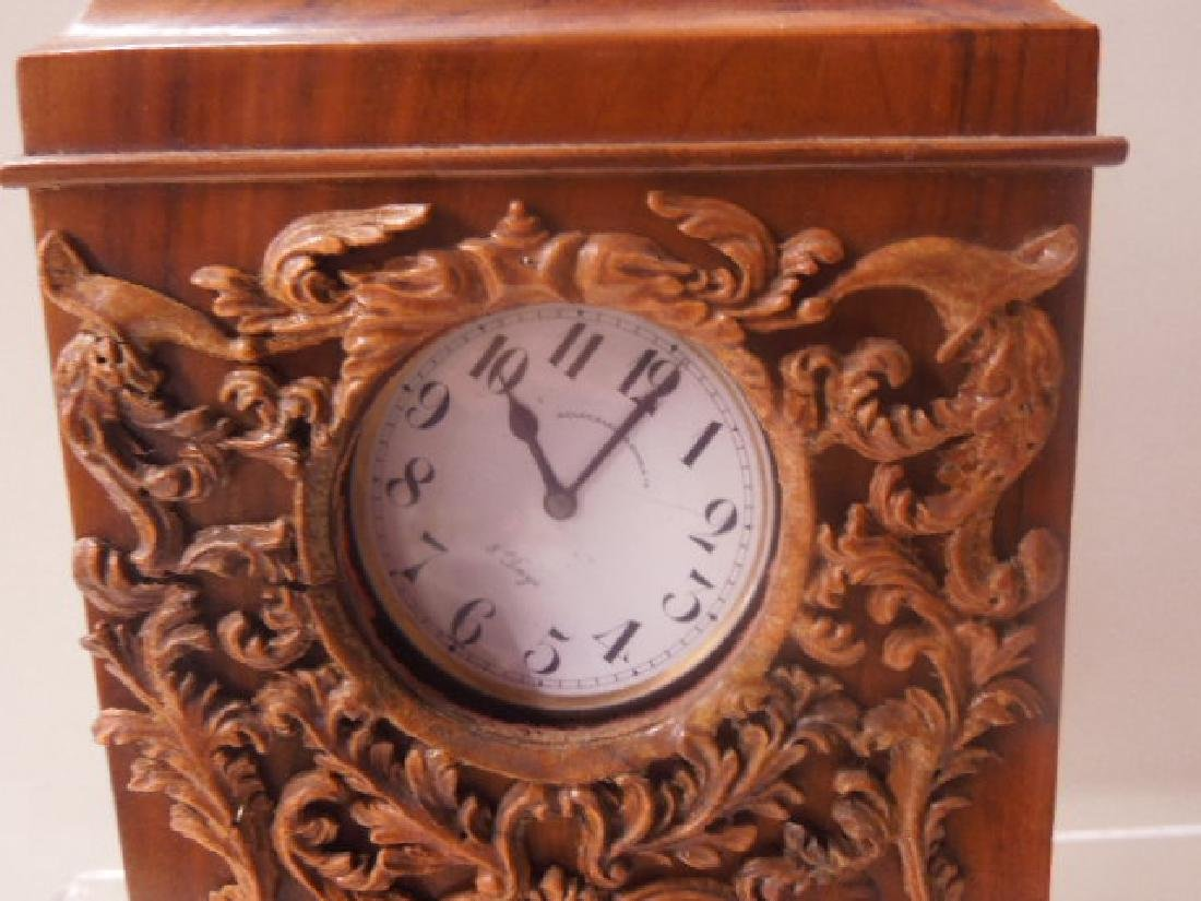 Continental Olive Wood Shelf Clock - 4
