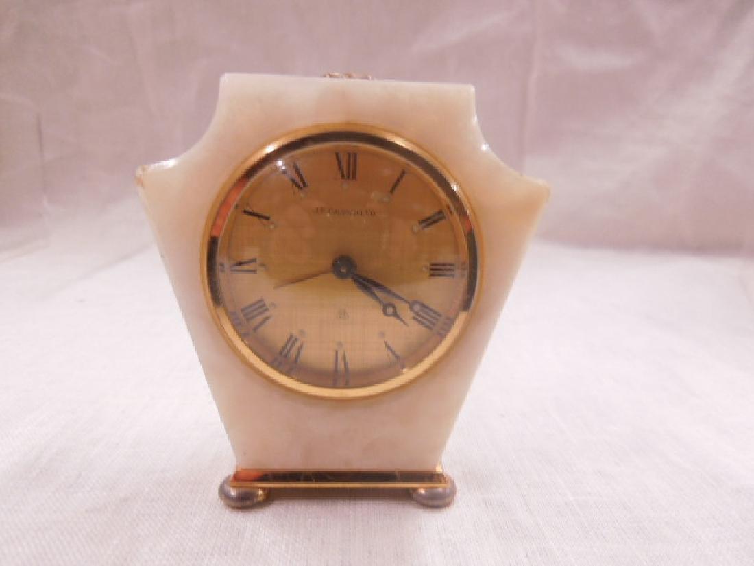 Swiss Onyx & Brass Travel Alarm Clock