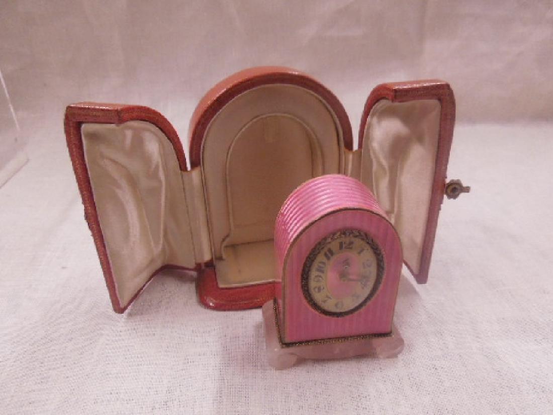 Swiss Silver & Enamel Miniature Clock - 2