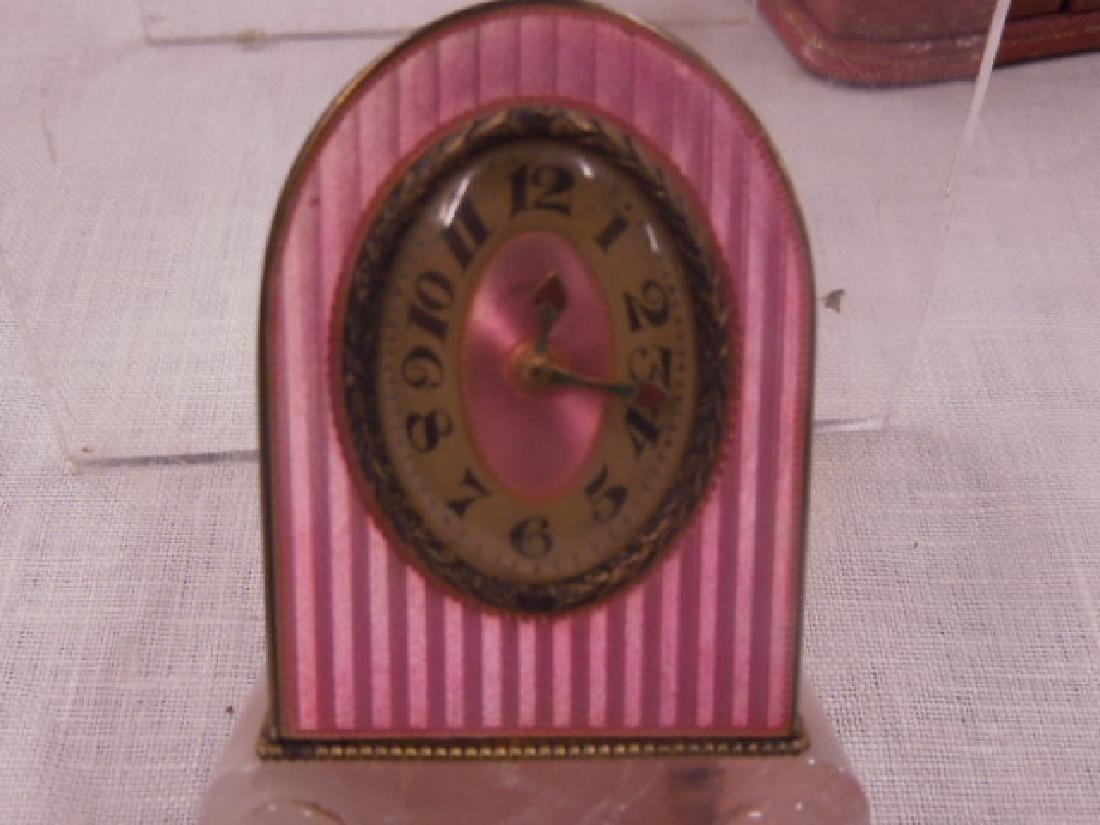 Swiss Silver & Enamel Miniature Clock - 5