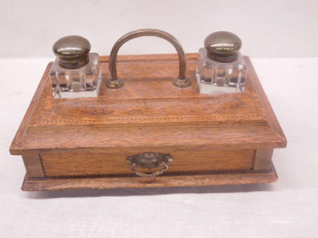 Antique Oak Double Inkwell