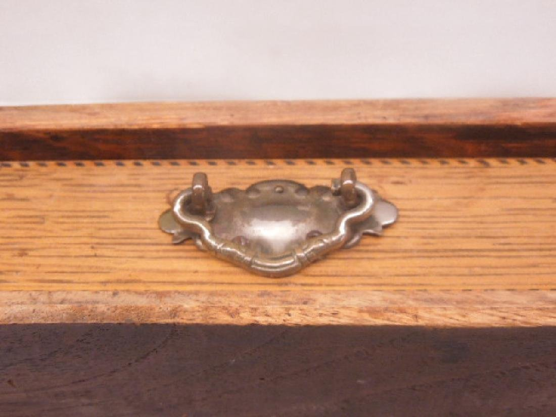 Antique Oak Double Inkwell - 3