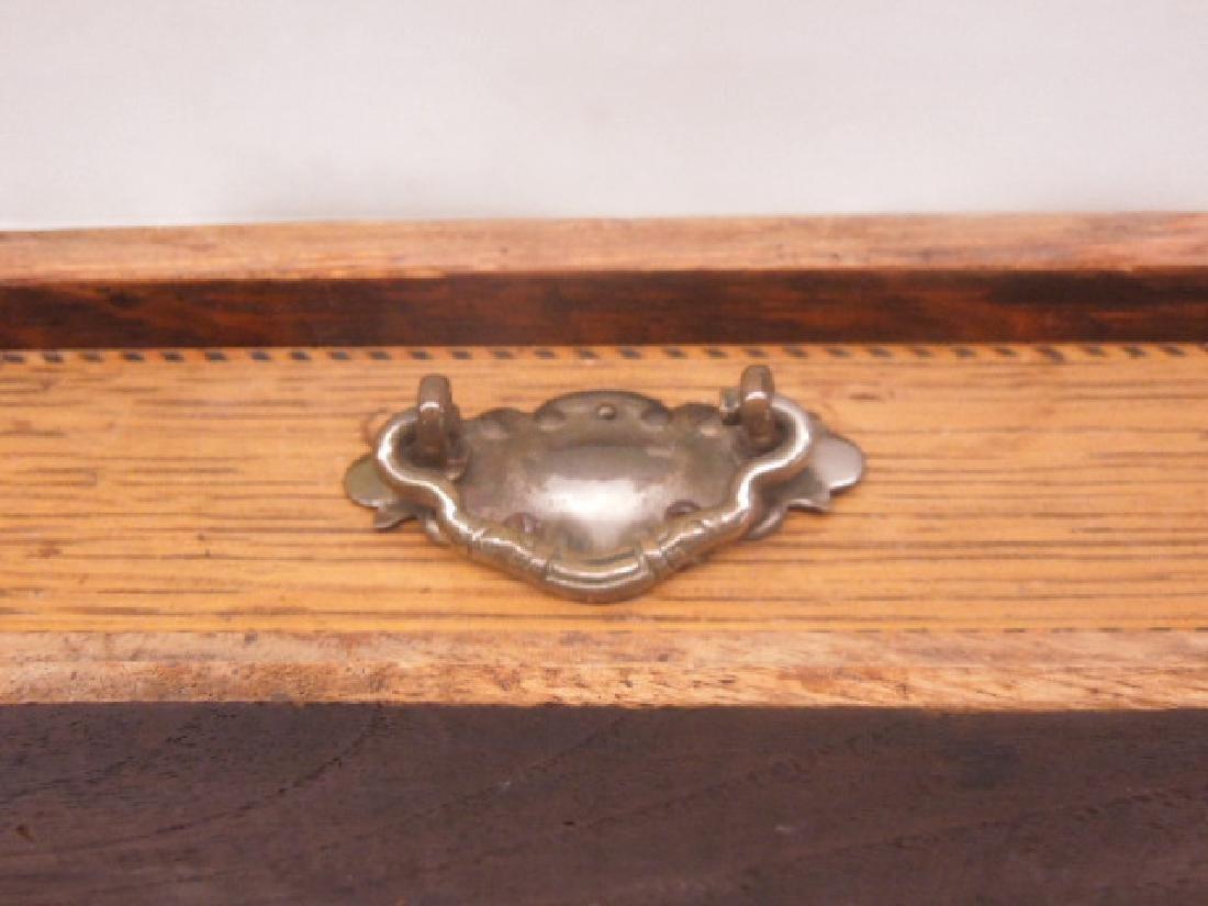 Antique Oak Double Inkwell - 3