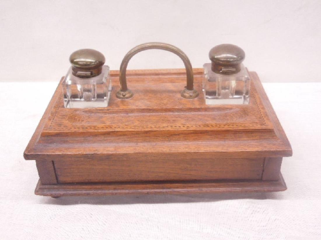 Antique Oak Double Inkwell - 4