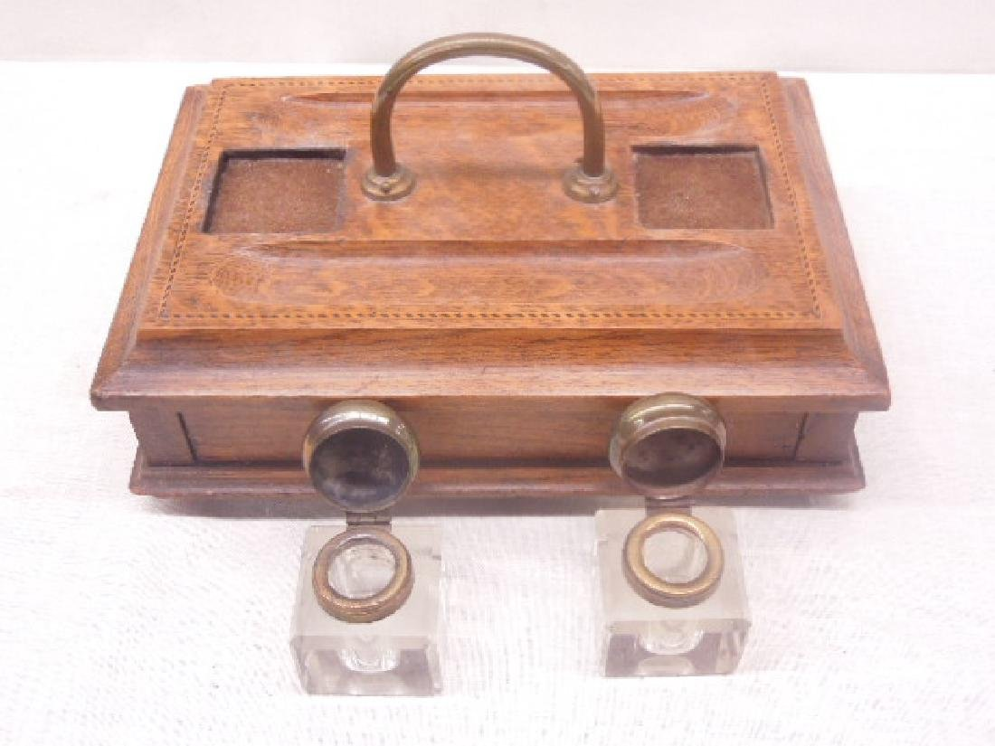 Antique Oak Double Inkwell - 5