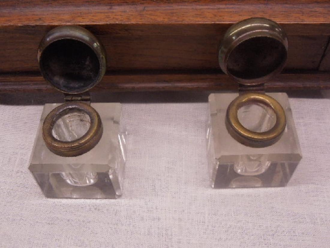 Antique Oak Double Inkwell - 6