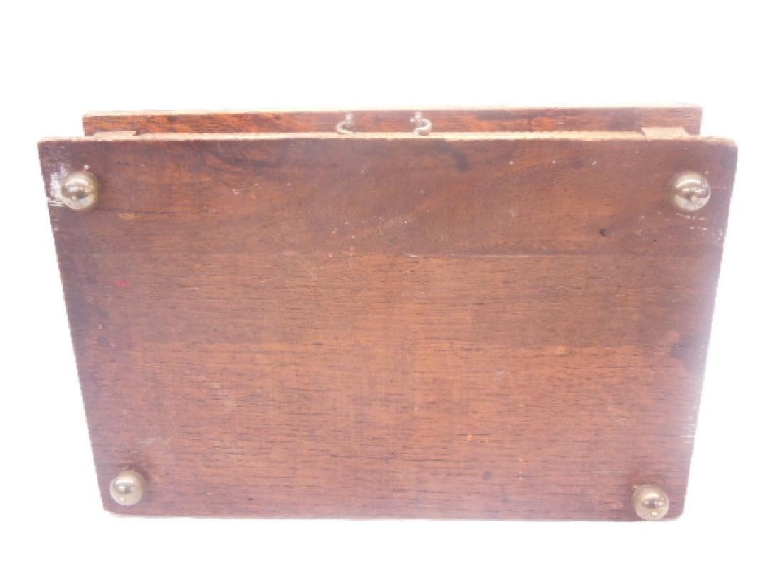 Antique Oak Double Inkwell - 7