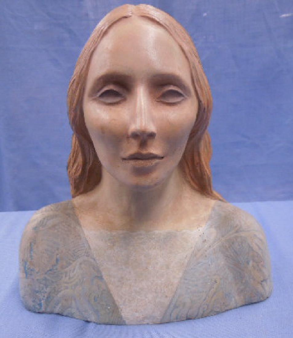 Nadine Karnow Pottery Bust Sculpture