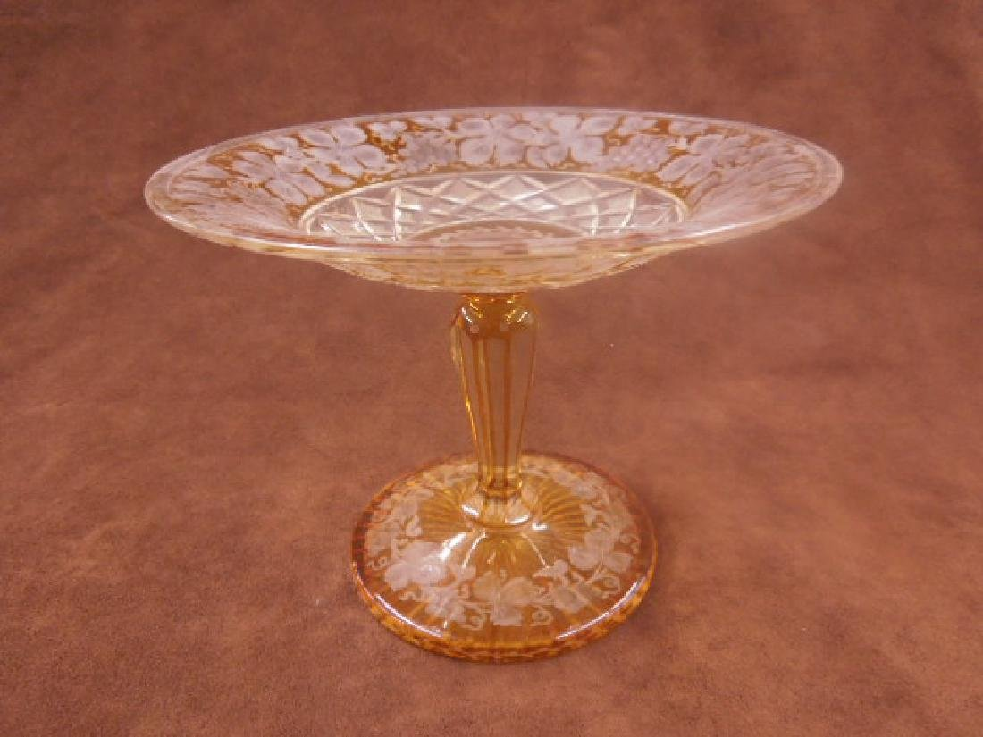 Bohemian Amber Cut to Clear Glass Compote