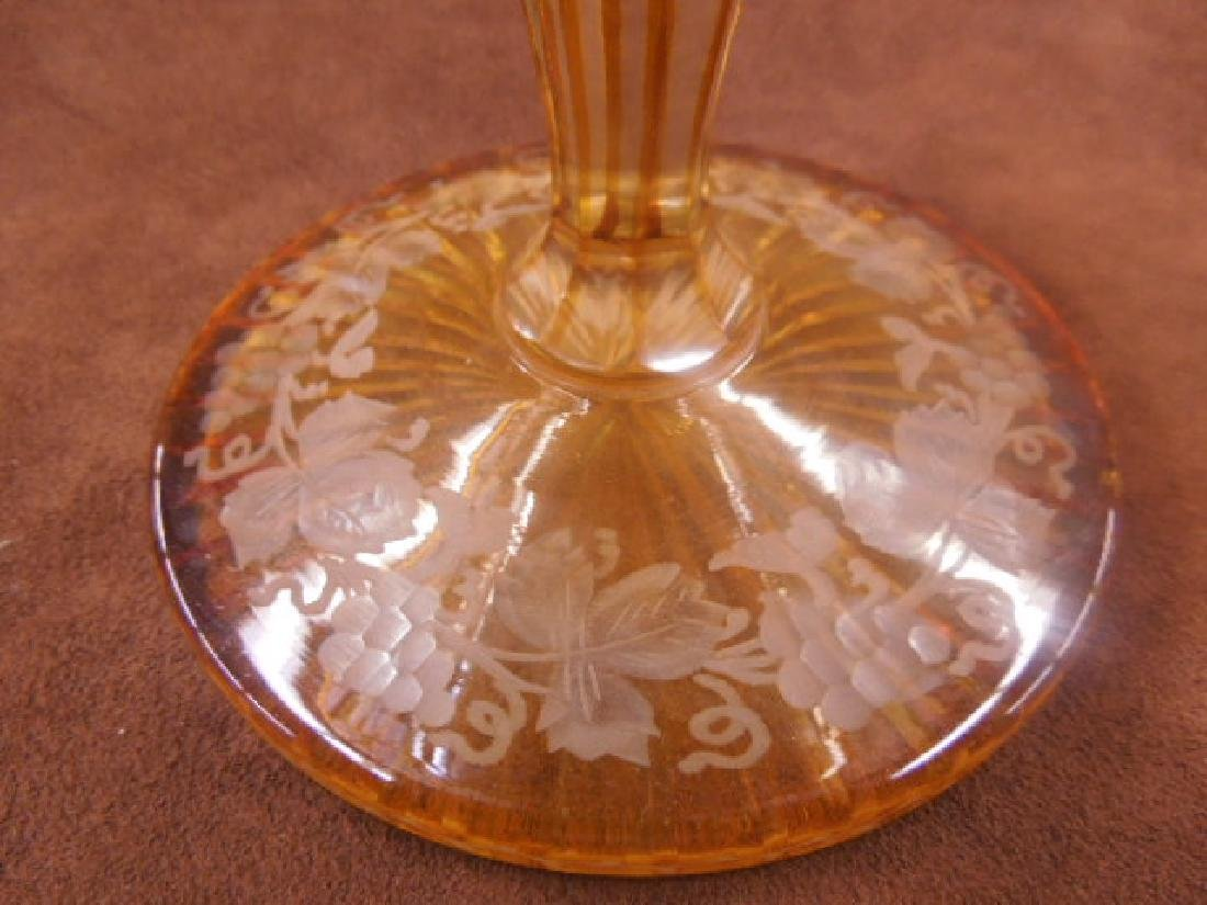 Bohemian Amber Cut to Clear Glass Compote - 2