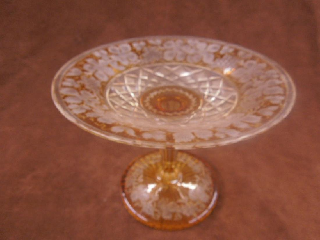 Bohemian Amber Cut to Clear Glass Compote - 3