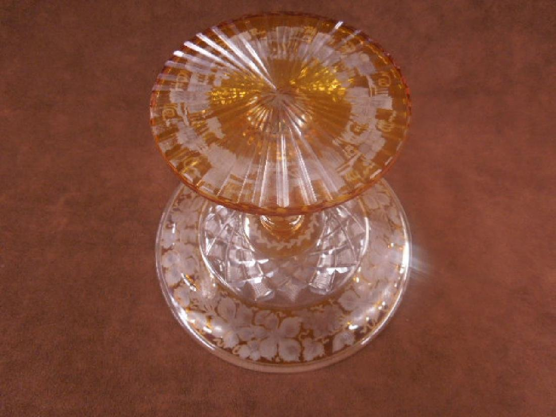 Bohemian Amber Cut to Clear Glass Compote - 4