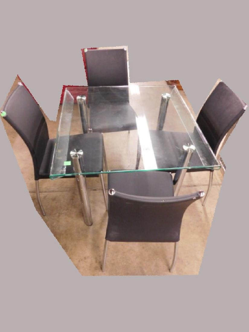 Contemporary Steel & Chrome Dinette Set