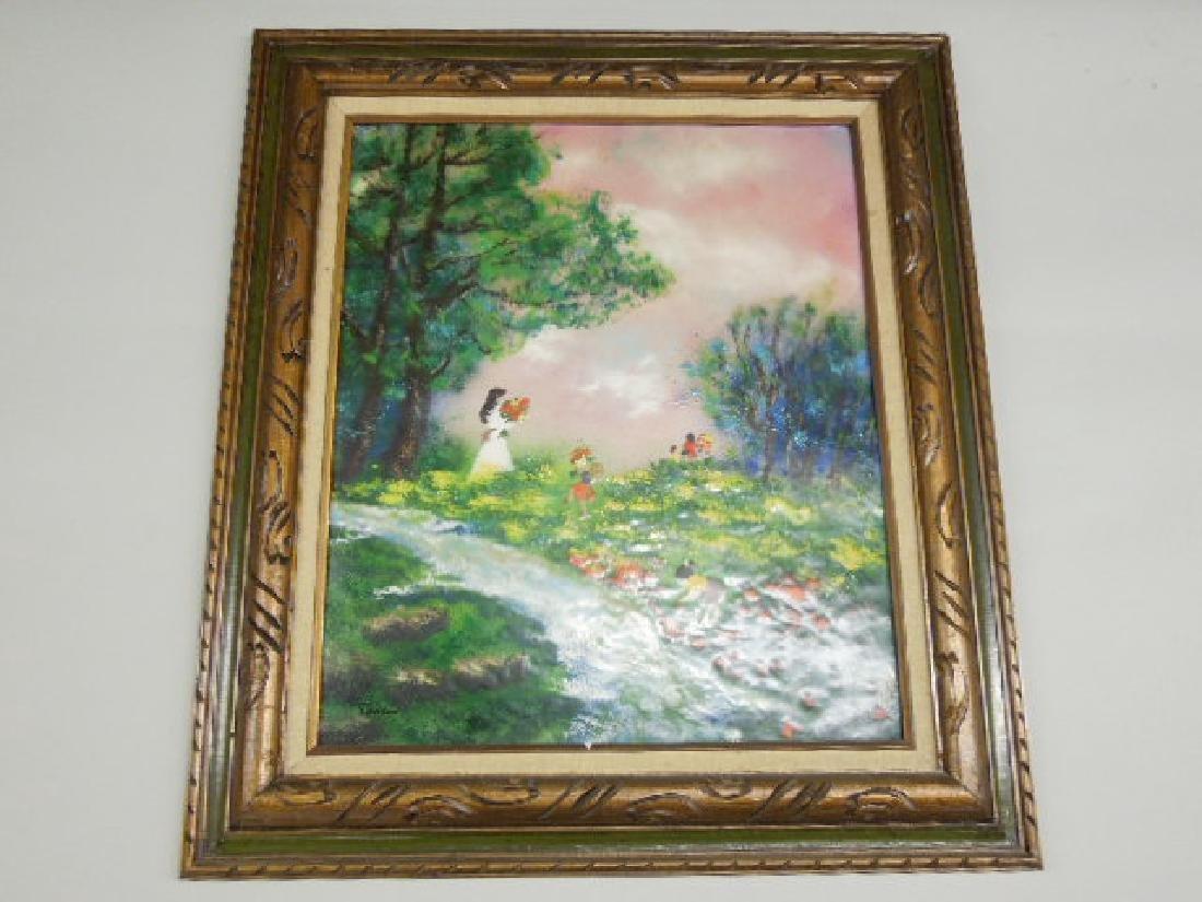 Louis Cardin Enamel on Copper Painting
