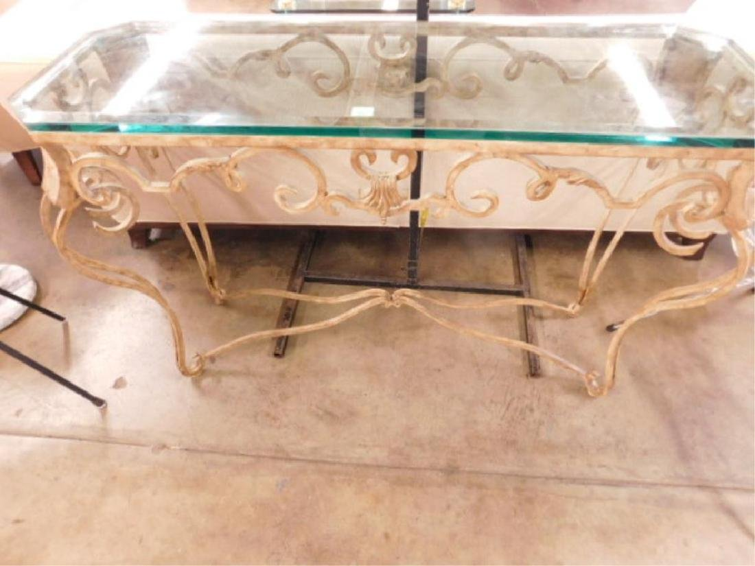 Contemporary Glass & Wrought Iron Sofa Table