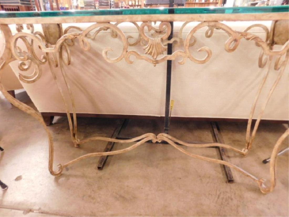 Contemporary Glass & Wrought Iron Sofa Table - 2
