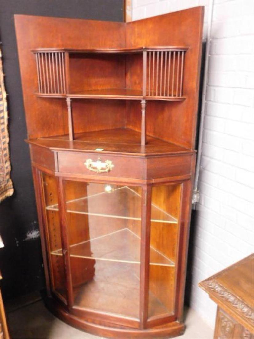 Late Victorian Oak Corner Vitrine