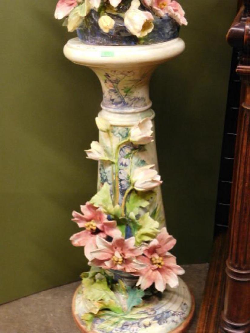 Italian Pottery Female Figure on Pedestal - 3
