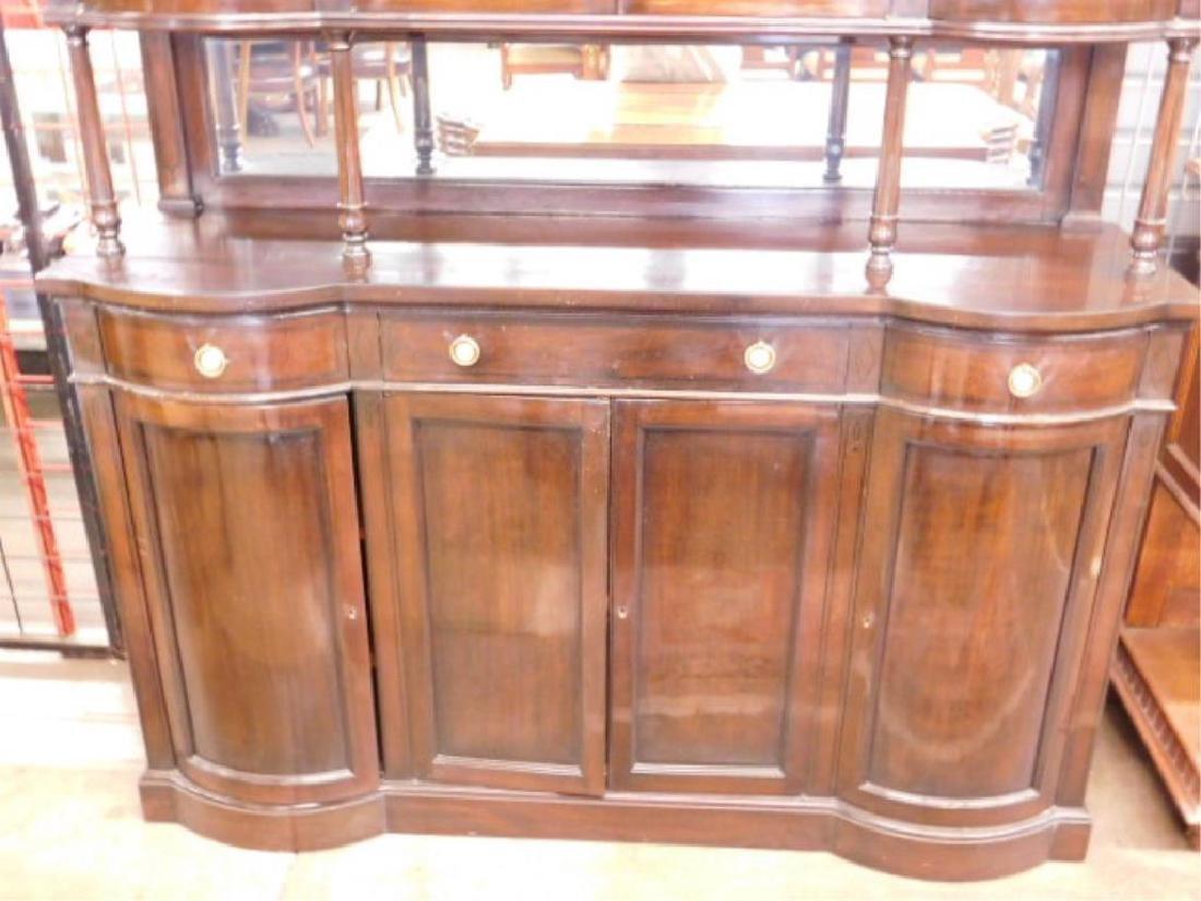 Mahogany & Glass Paneled Buffet - 2